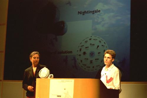 Evita and me presenting Nightingale at Apple HQ