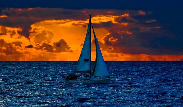 Sailing at the stormy sunset - Tel-Aviv beach