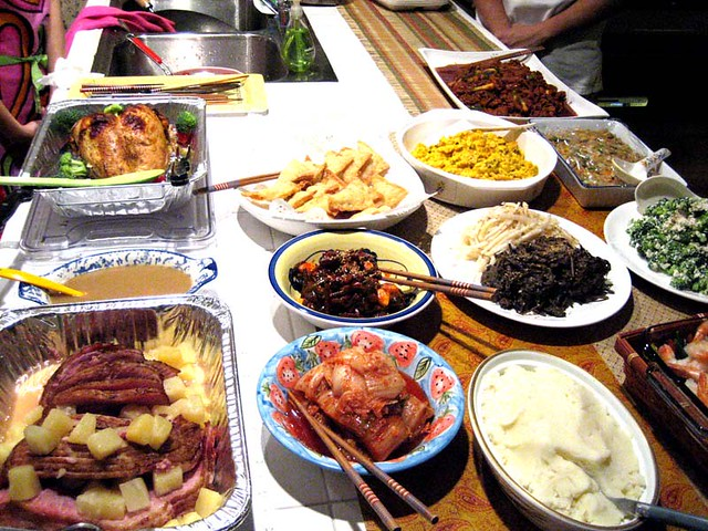 thanksgiving dinner, korean style