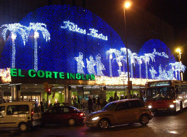 Christmas lights at El Corte Ingles