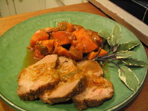 Roast pork with sweet potatoes