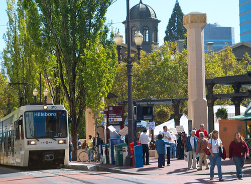 Pioneer Square, Max Light Rail, Protestors, at Lunchtime.jpg