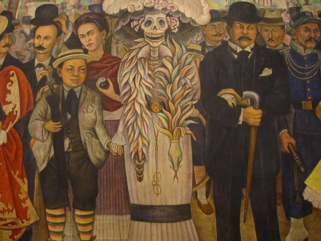 Diego rivera sue o de una tarde dominical en la alameda for Diego rivera mural paintings
