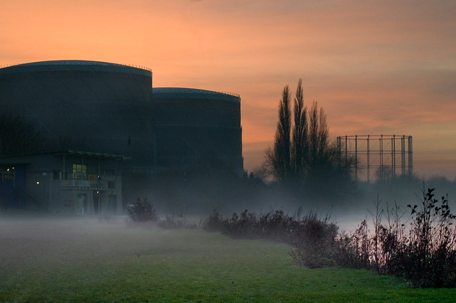 Gasometers in the mist