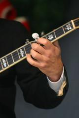 banjo(0.0), hand(1.0), musician(1.0), guitar(1.0), string instrument(1.0),