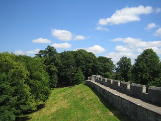 Image of City Walls. england yorkshire summer york walls citywalls trees clouds