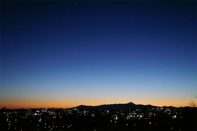 the sun is setting Tokyo