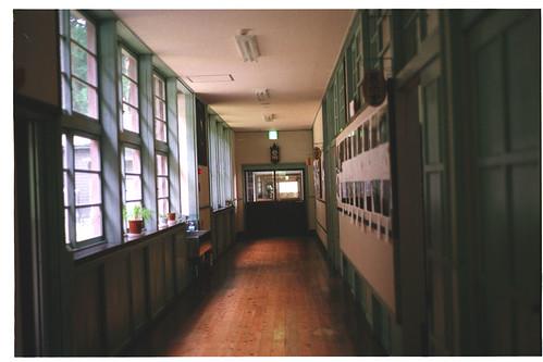 nostalgic school corridor