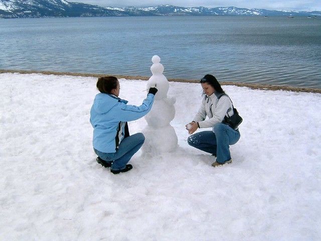 Agnes and Monika mess with someone's snowman
