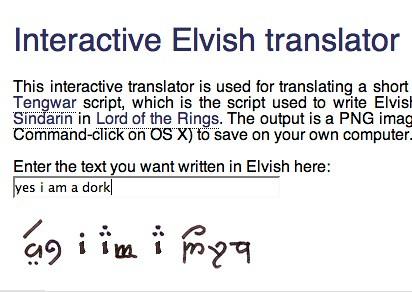 elvish writing translation