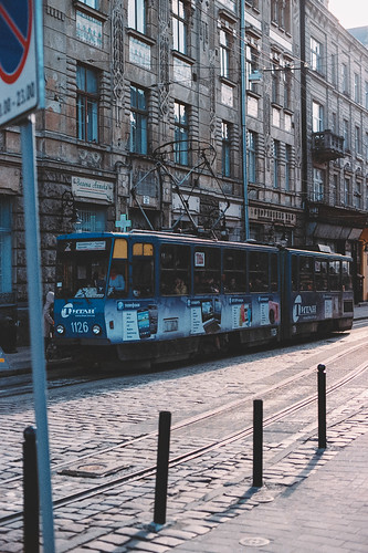 city sunset sun love film stone architecture sunrise 35mm 50mm evening photo spring nikon shadows kodak transport lviv shades ukraine 400 rails tramway n90 ultramax filmphoto