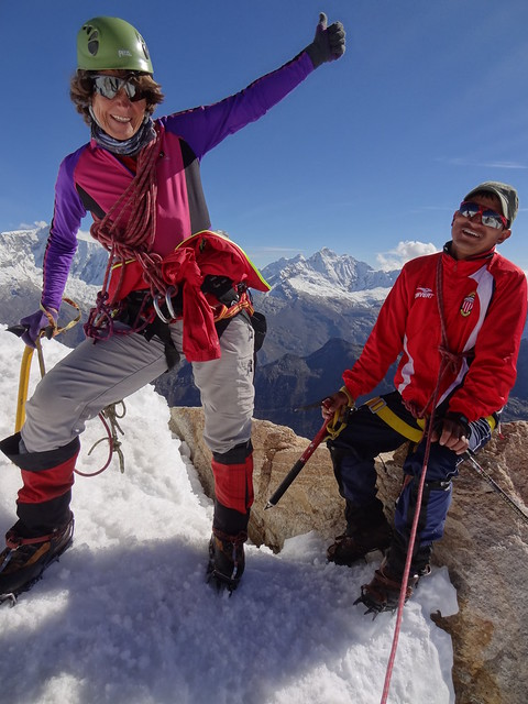 Highlights of the Cordillera Blanca Traverse: Val and Beto, Urus Este summit