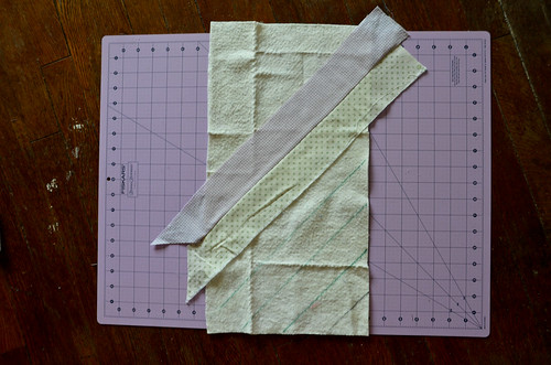 7. Open up fabric strips.