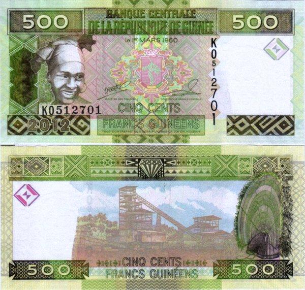 500 Guinejských frankov Guinea 2012