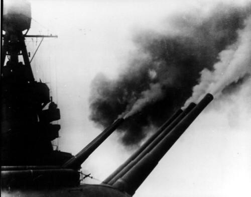 USS Louisville CA 28 firing her 8 inch guns.