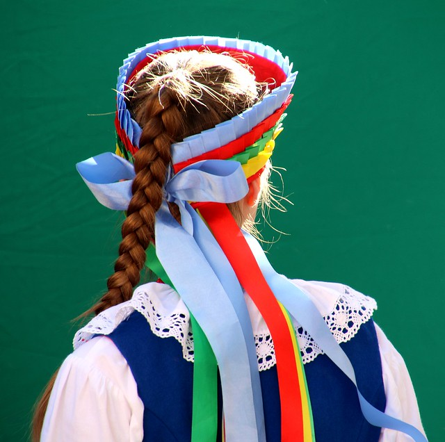 Girl from a polish folk  dancing  group  performing  in Zamosc, Poland