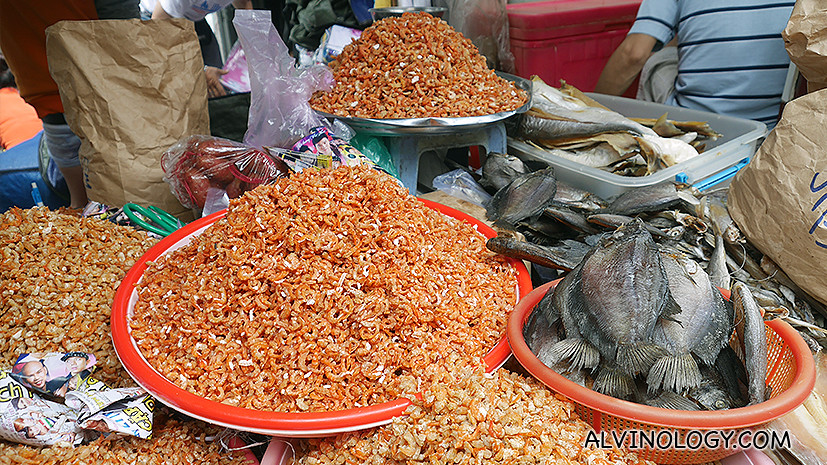 Dried shrimps and salted fishes