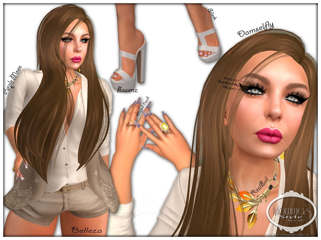 Kokekta, Ikon, Mandala, Belleza, Freya, JM, Damselfly, On9,  Nova, LB, La Boheme, LaBoheme, Wicked Peach,   Purple Moon, PM, Essenz, Luxe, OMGacha, Kibitz, RE, RealEvil, Real Evil Industries, The Seasons Story,  Verocity,  Trompe Loeil, Windsong, Wind Song, Summerfest, Serenity Style, Paper Moon, Cleo Designs, CD, sf, Shutterfield, Momma's Style, JenJen Sommerfleck, Second Life, Virtual World, Avatar,