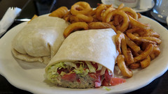 Tuna wrap with curly fries