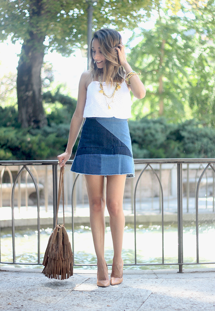 Denim Skirt White Top Outfit11