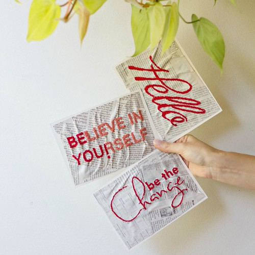 Free-Motion Stitched Greeting Cards