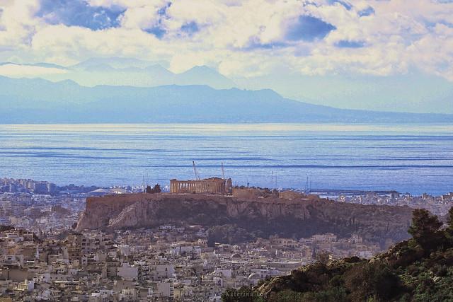 The Acropolis far away, Sony ILCE-6500, Sony E PZ 18-105mm F4 G OSS