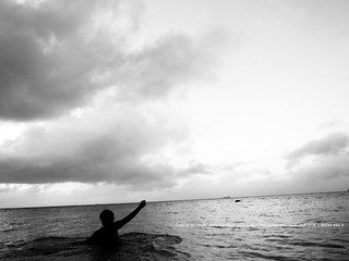 In the sea. (My son)