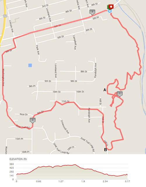 "Today""s awesome walk, 3.18 miles in 1:17, 6,828 steps, 403ft gain"