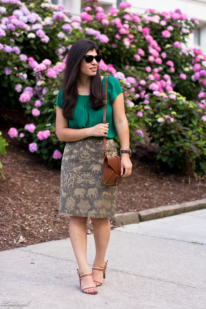 elephant print skirt, green silk blouse, brown sandals-3.jpg