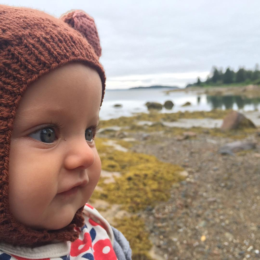 Cold beach, baby bear. Naskeag Point. #hattiegram #mainesummer
