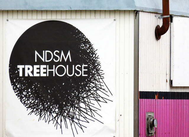 The Treehouse provides studio space for an artist in residence at NDSM, an industrial area across the river from Amsterdam