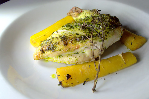 Wild Garlic Welsh Chicken Supreme with Yellow Carrot & Thyme