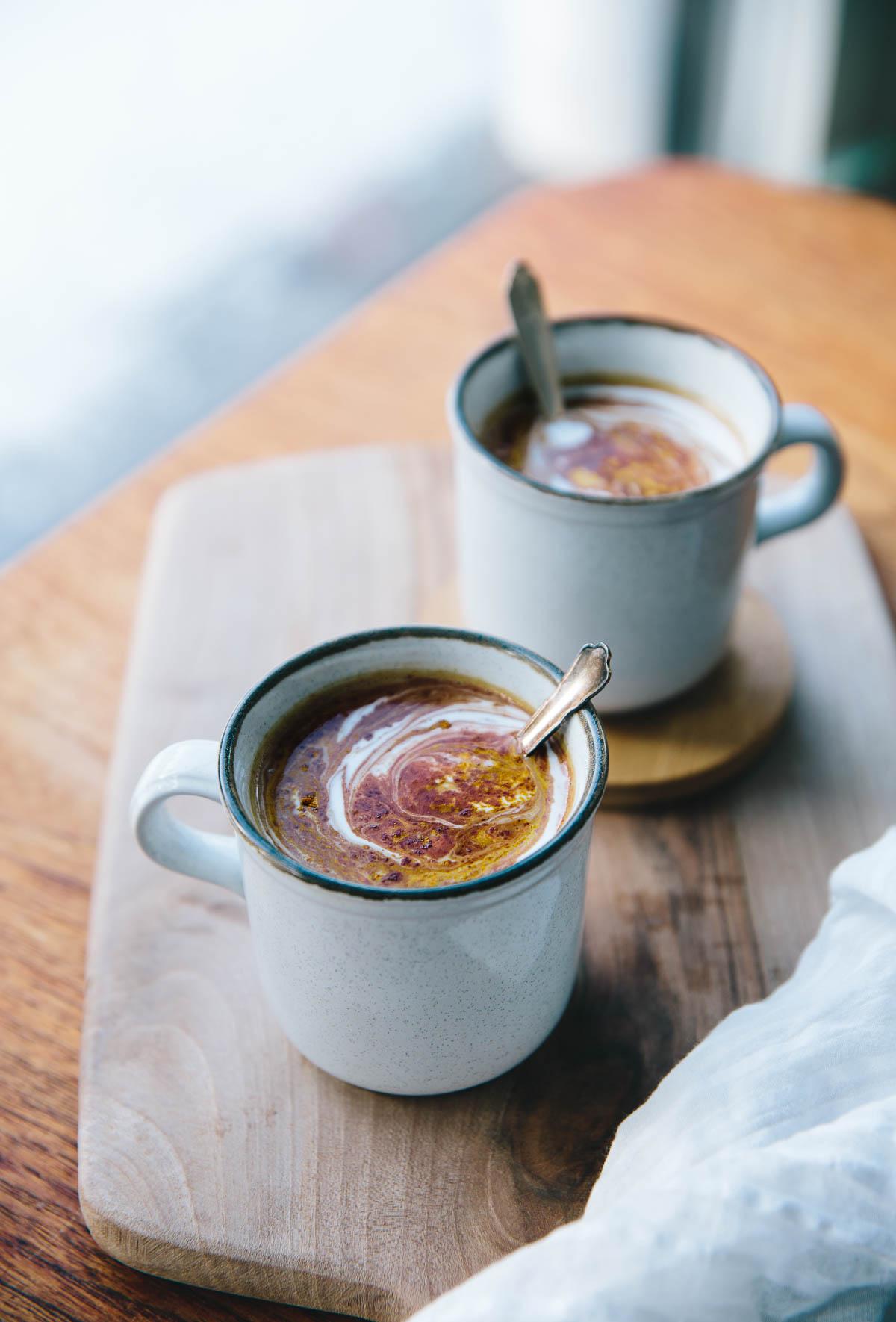 Hot Superfood Chocolate with Tahini & Turmeric | Cashew Kitchen
