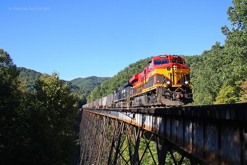railroad bridge autumn summer west fall train evening virginia track diesel ns norfolk engine rail dry fork southern wv va rails locomotive coal railways kcs kcs4836 ns80a