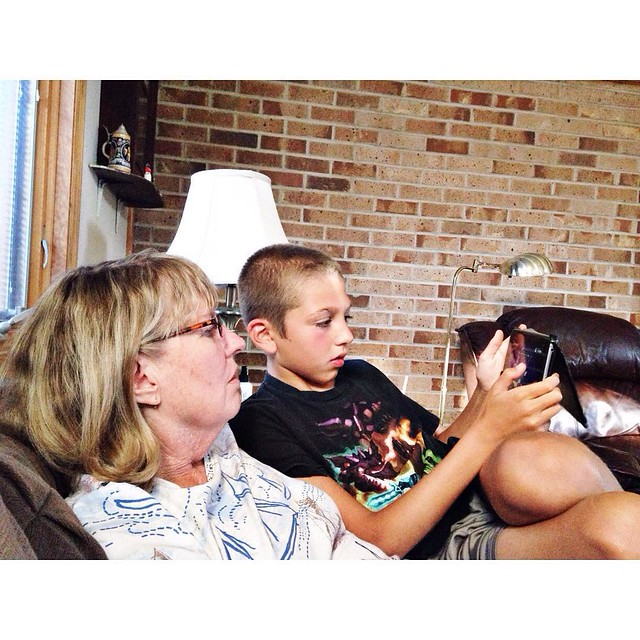 Ethan teaching grandma about games in his tablet #myethan