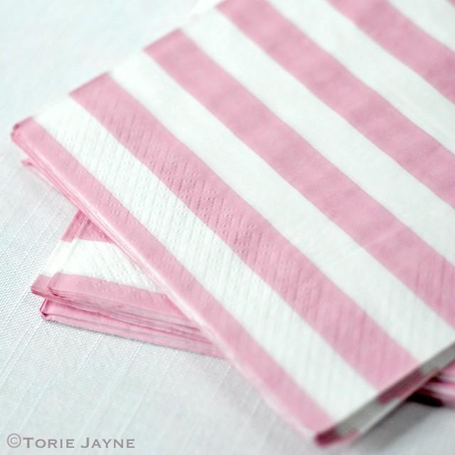 Pink stripe napkins 1
