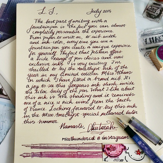 A wonderful personalized writing experience is what writing with a fountainpen offers you. My letter for the #wanderbox #wanderlust #beingpelikan #pelikansouverän #m620 #athens #pelikanedelstein #amethyst #letter #writing #letterwriter #laidpaper #station