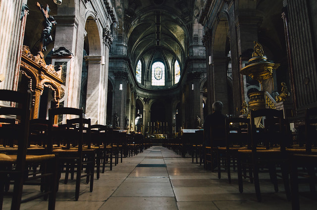Inside the Church of Saint-Sulpice, located in the heart of the Saint-Germain-des-Prés neighborhood.