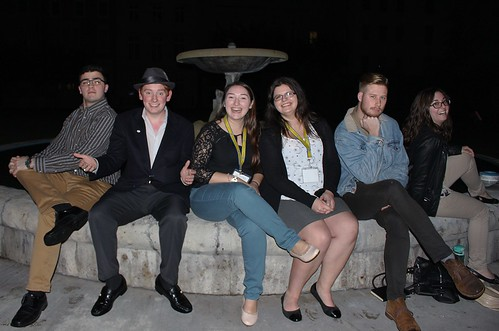 "Friends at the ""Friends"" fountain 