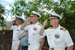 From the right, Capt. Dale Rielage, director of intelligence and information operations, U.S. Pacific Fleet; Adm. Scott Swift, commander of U.S. Pacific Fleet; Dr. David Rosenberg, the guest speaker; and Capt. John Shimotsu, U.S. Pacific Fleet Chaplain; salute during a ceremony at fleet headquarters to commemorate the 73rd anniversary of the Battle of Midway.  (U.S. Navy/MC2 Tamara Vaughn)