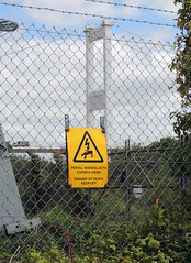Bi-lingual Danger Sign, Beachley Peninsula, GLOUCESTERSHIRE 10 June 2015
