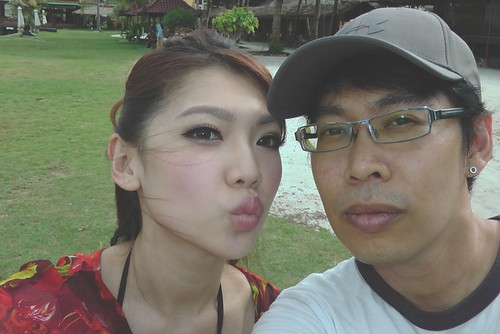 Apple and me at Bintan Cabana Beach Resort.