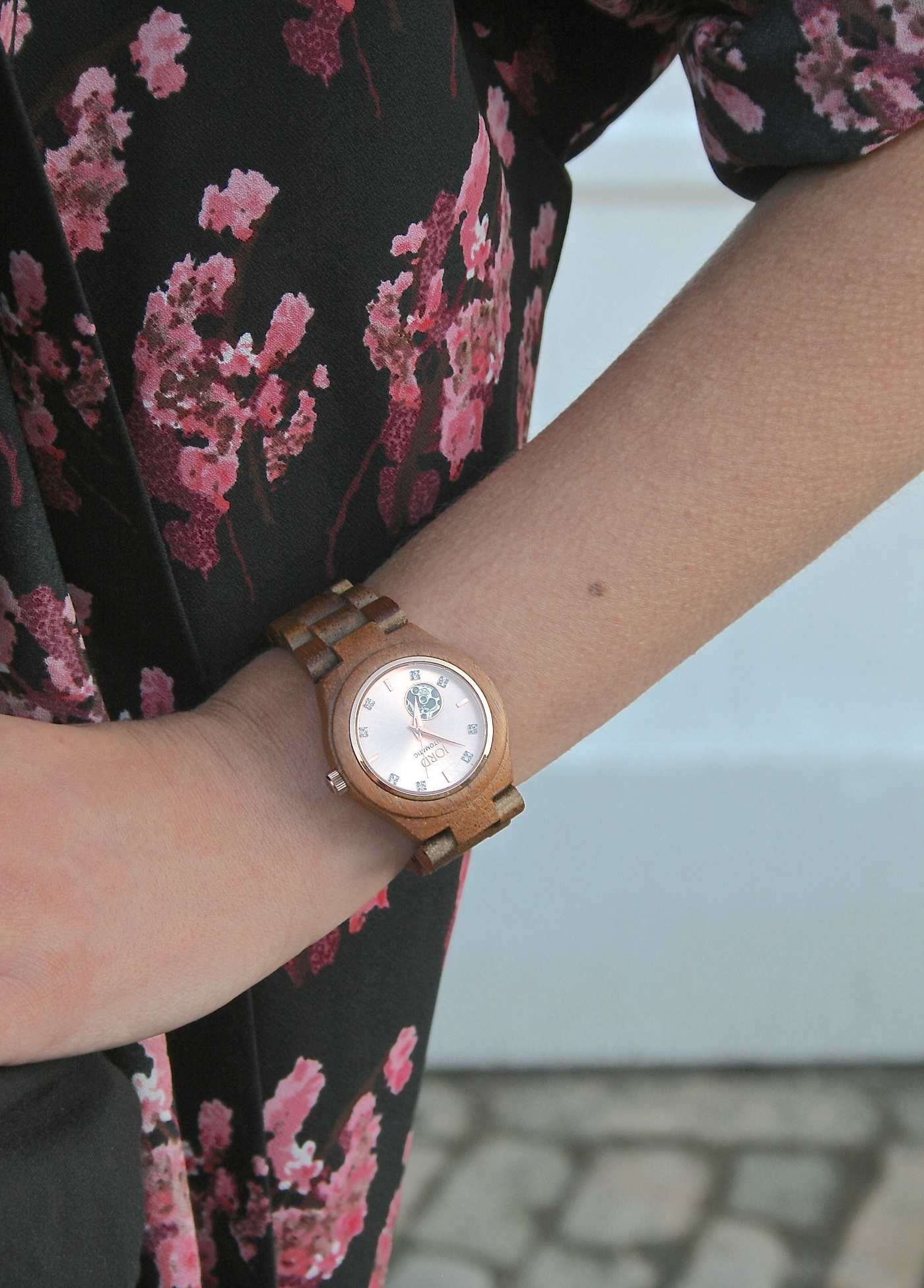 wooden and rose gold watch