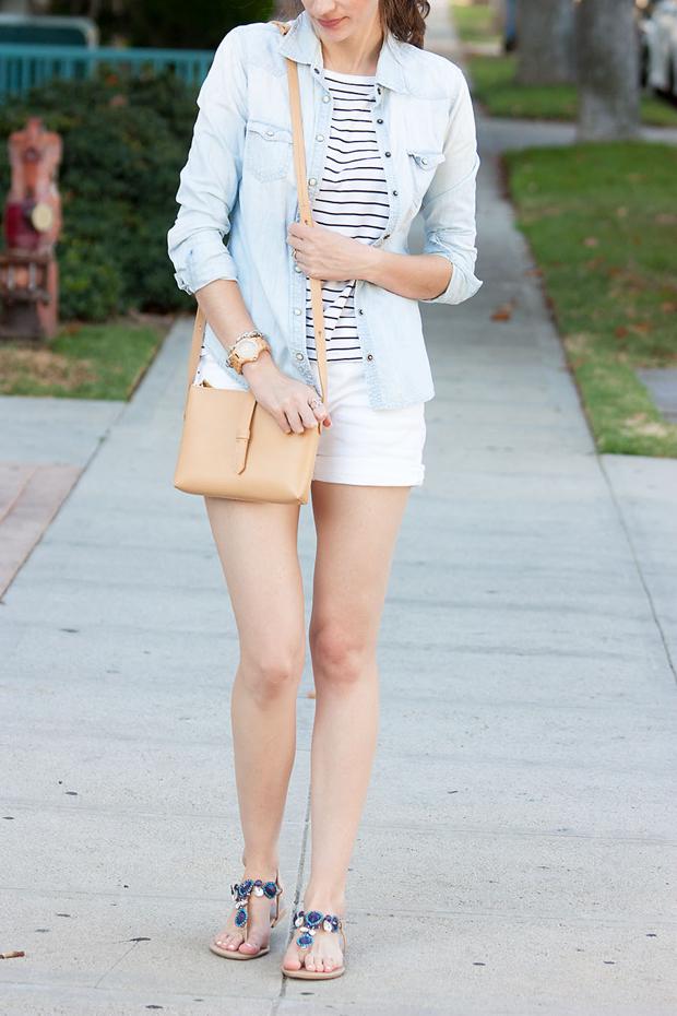 Fibi and Clo Sandals, Striped Tee, White Shorts, J.Crew Bag