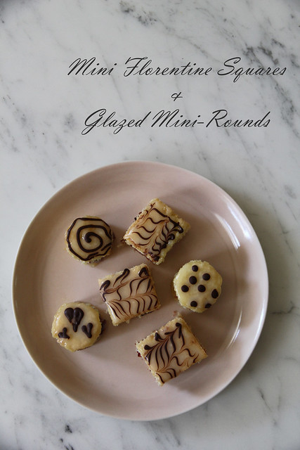 miniature florentine squares and glazed mini-rounds