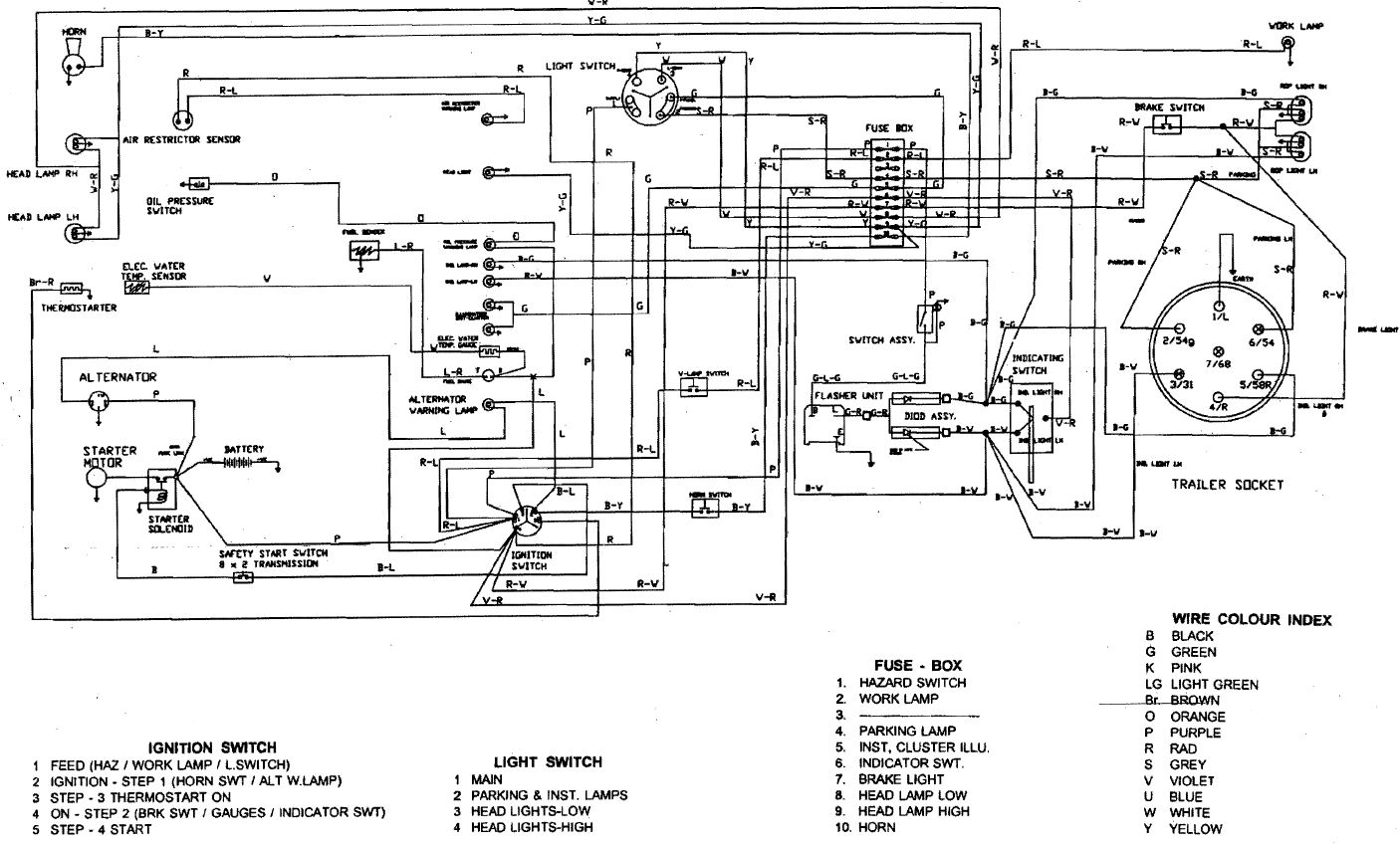 ignition switch wiring diagram Long Tractor Company