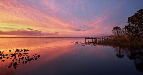 lake washington sunset melbourne florida brevard county space coast pier park palm tree reflection sony a6300 1018mm sel1018