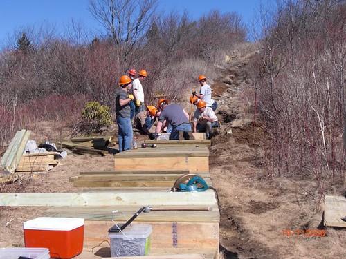 Sam Knob Trail restoration under construction