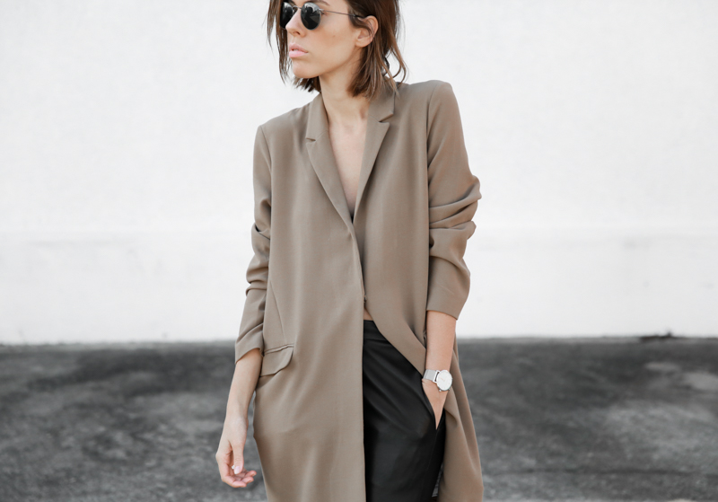 modern legacy, fashion blog, leather pants, street style, loafers, neutrals, boyfriend blazer, ASOS, minimal, Larsson Jennings watch silver (1 of 1)