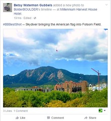 #BBBestShot--- Skydiver bringing the American Flag into Folsom field.